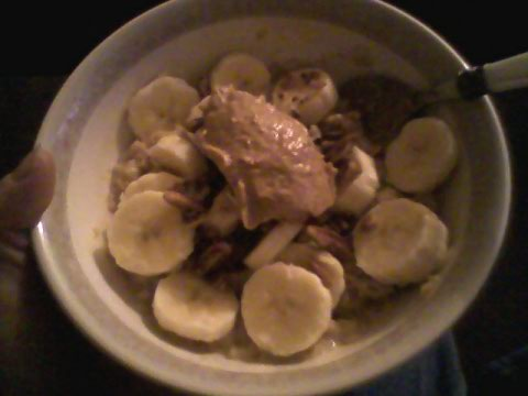 Instant pumpkin oats, 1% milk, banana, pecans, cashew butter