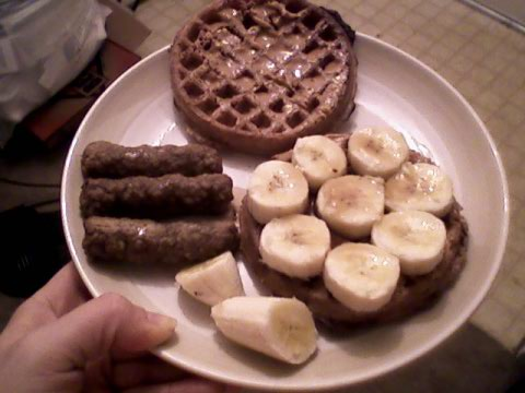 Wafflewich (PB, banana, syrup) and turkey sausage
