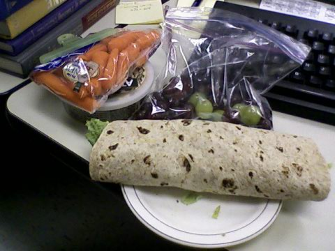 Wrap with carrots & hummus, grapes