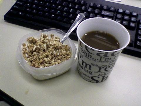 Plain nonfat yogurt, Kashi Go Lean crunch, coffee w/ Equal & 1% milk