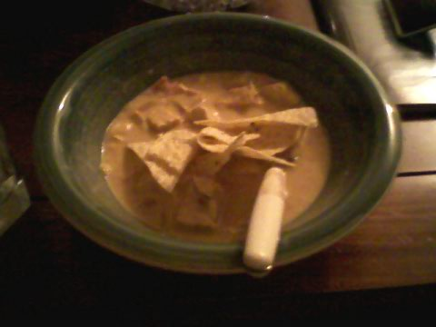 Husband's homemade chicken tortilla soup w/ chips