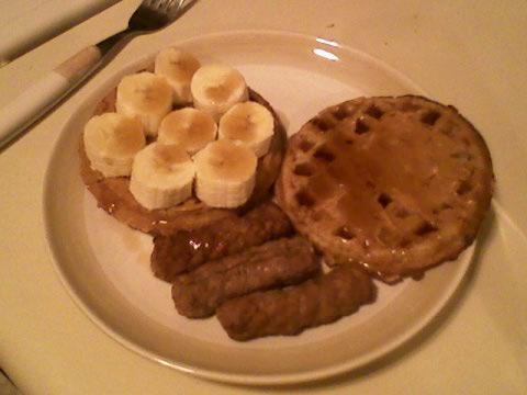 Waffles, PB, banana, syrup, turkey sausage