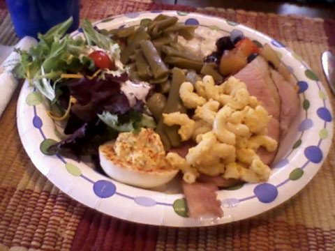 Ham, salad, green beans, fruit, deviled egg, mac 'n cheese