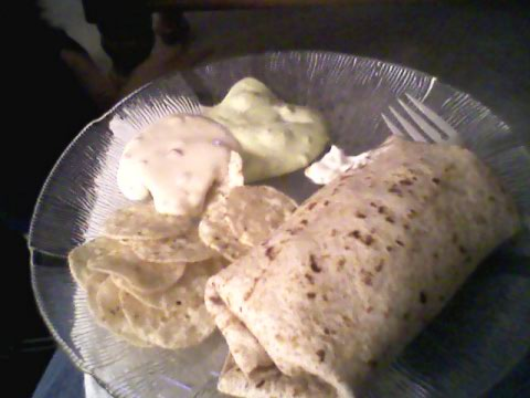 Burrito, chips and dips