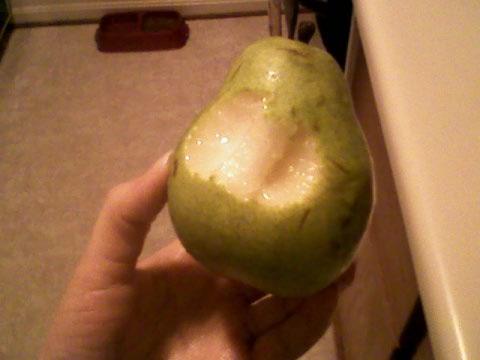 Anjou pear, ate half at home and half at work