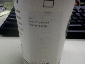 Skinny vanilla latte -- Thanks Mom!
