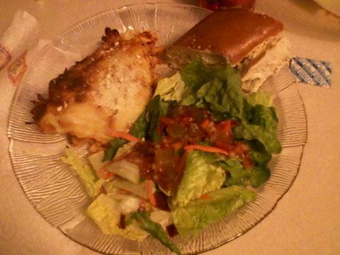 Pizza bake, italian bread, salad