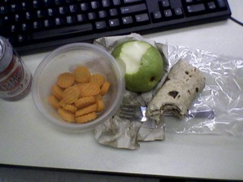 Tuna wrap, carrots, pear