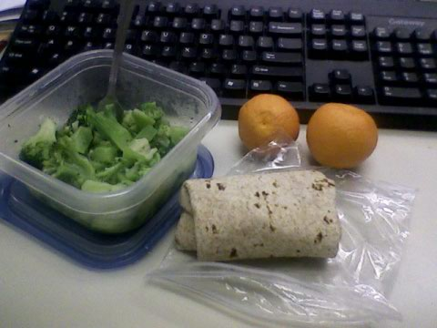 Salmon wrap, broccoli, clementines