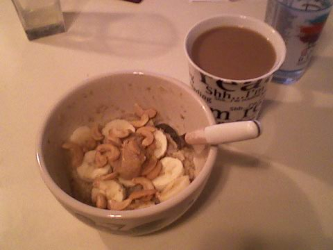 Banana, cashew butter, cashew oats + coffee (YUM)
