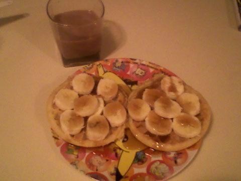 Frozen waffles, PB, banana, SF syrup, chocolate milk