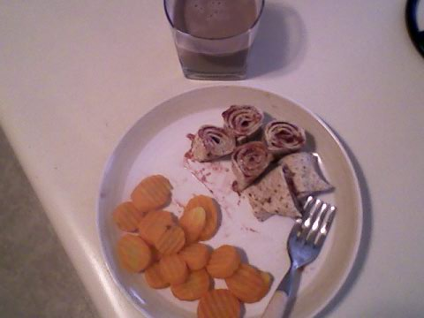 PB&J rollup, carrots, chocolate milk