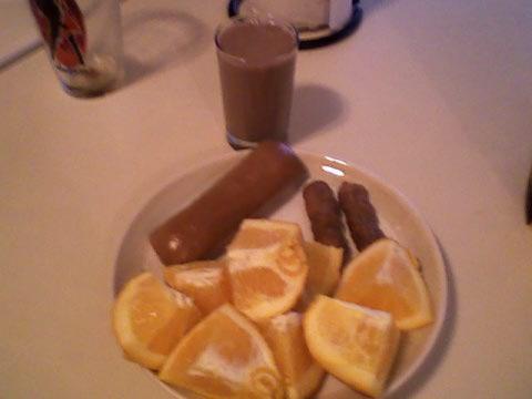 Bagelful, turkey sausage, orange, chocolate milk