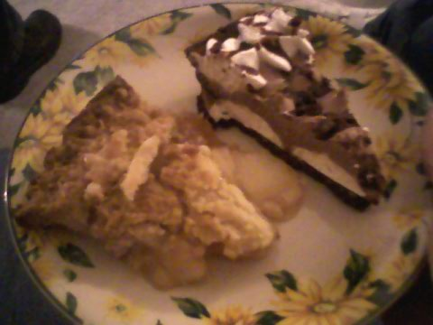 2 desserts! Apple and chocolate pie.