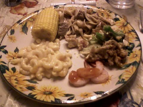 Stroganoff, casserole, mac 'n cheese, shrimp, corn on cob
